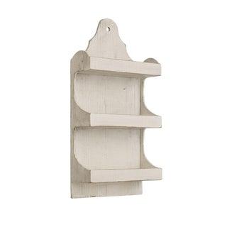 Antique White Wooden Wall Shelf Unit For Sale