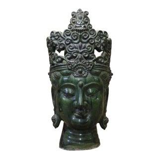 Chinese Rustic Ceramic Green Glaze Kwan Yin Crown Head Statue