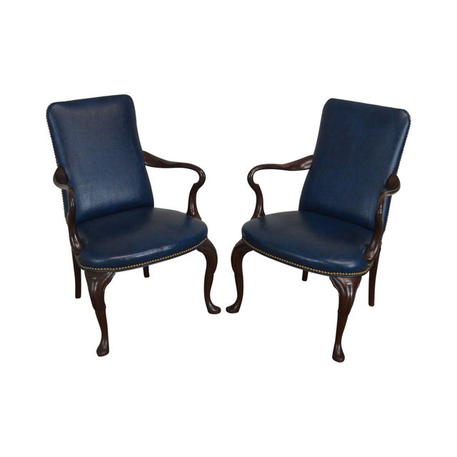 Queen Anne Style Vintage Custom Quality Mahogany Pair Shepherd's Crook Armchairs (C) For Sale - Image 12 of 12