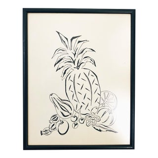 Mid Century Pen and Ink Fruit Drawing For Sale