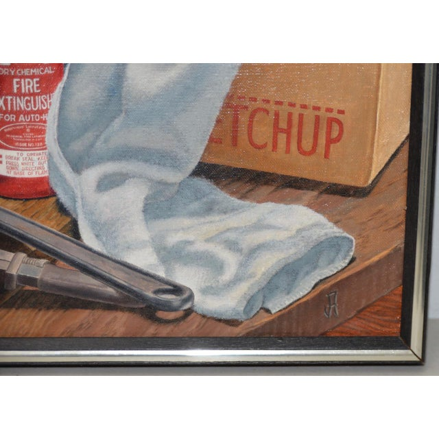 """John T. Axton III (1922-2009) """"Work Bench"""" Original Realism Still Life Oil Painting Created with oil on canvas. Dimensions..."""