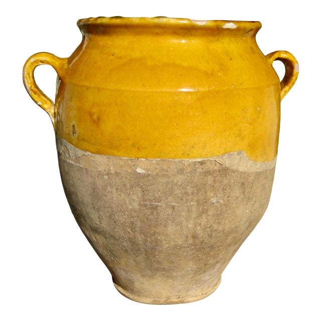 19th Century Country French Rustic Yellow Pot For Sale