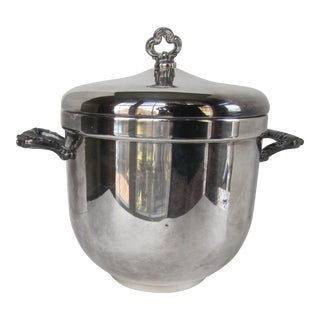 Large Vintage Silverplate Glass Lined Ice Bucket With Lid For Sale
