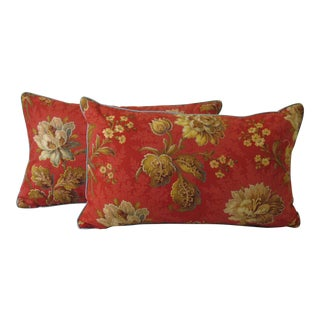 Boho Chic French Red Floral Cotton Pillows - a Pair For Sale