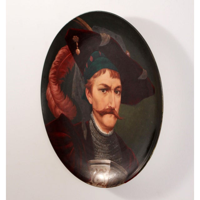 19th Century European Portrait Hand Painted Porcelain Wall Charger For Sale - Image 4 of 12
