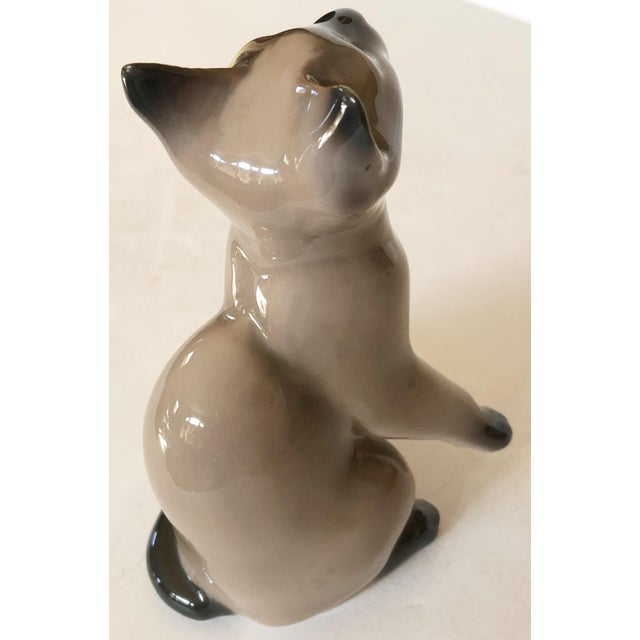 Danish porcelain company, Bing & Grondahl, figure of a Siamese cat. Makers mark on the bottom of piece.