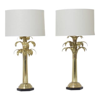 Brass Palm Tree Table Lamps - A Pair For Sale