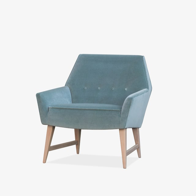 Danish Modern Mid-Century Club Chairs in Sea Velvet, Pair For Sale - Image 3 of 10