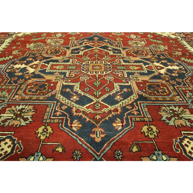 Heriz Oriental Hand Knotted Area Rug - 9'10 x 14' - Image 8 of 10