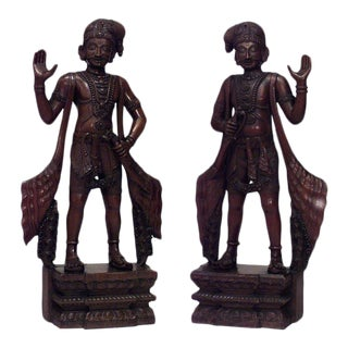 Asian Javanese Carved Teak Large Figures-a Pair For Sale