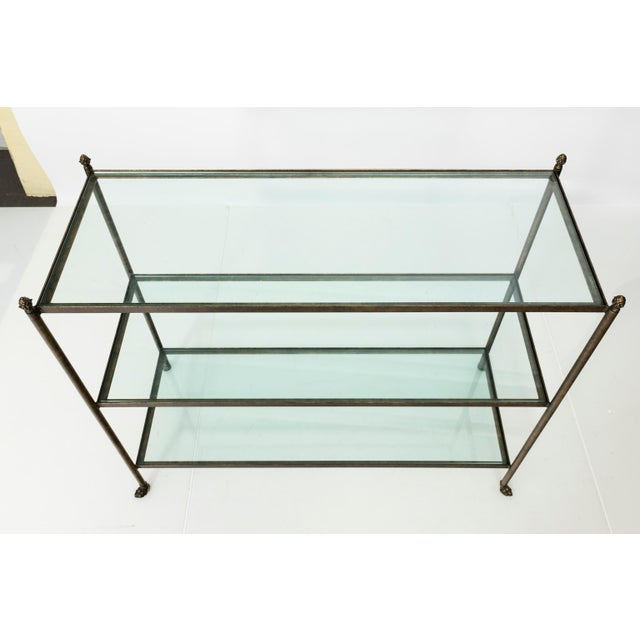 Pair of 1980s Three-Tier Glass Etageres For Sale - Image 12 of 13