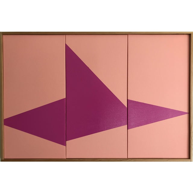 "Original Acrylic Painting ""Pink On Point Triptych JET0527"" - Image 5 of 5"
