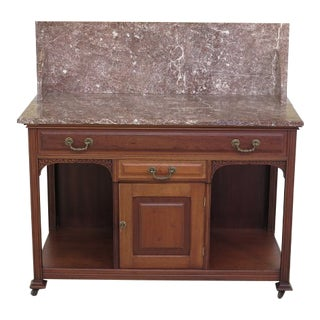 Antique American Victorian Walnut Marble Top Washstand For Sale