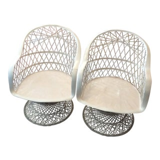 1960s Mid-Century Modern Spun Fiberglass Swivel Chairs - a Pair