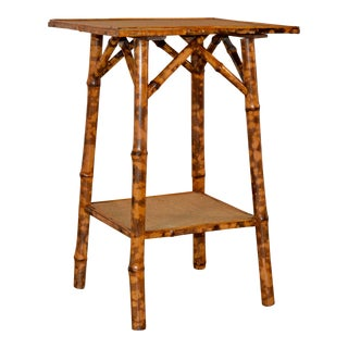 19th C French Tortoise Bamboo Side Table For Sale