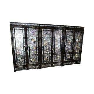 Exquisite Asian Inlaid Mother of Pearl Black Lacquer 3 Section 11' Wardrobe Armoire Cabinet For Sale