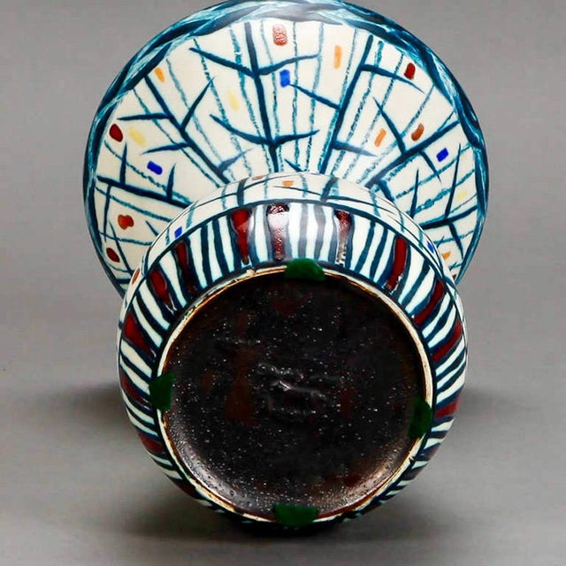 Mid Century Ernest d'Hossche Op Art Blue White Vase - Image 4 of 4