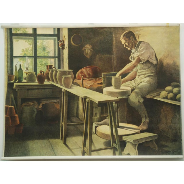This didactic poster was produced in 1929. It features one potter in his workshop.PLEASE ADD PROPER DEPTH MEASUREMENT