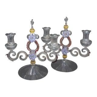 Italian Venetian Murano Glass Candlesticks - Pair For Sale