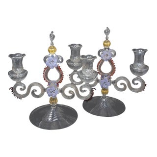 Pair Italian Venetian Hand-Blown Murano Glass Candlesticks For Sale