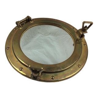 Vintage Brass Ship Porthole Mirror For Sale