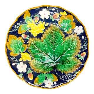 Antique English Majolica Cobalt Blue Grape Leaf and Strawberry by Brownfield & Sons Plate For Sale