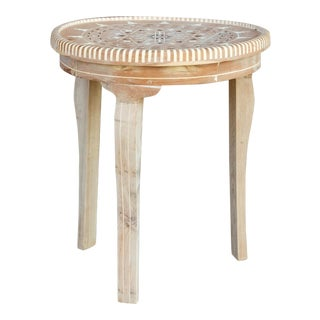 Bleached Cedar Syrian Marquetry Side Table For Sale