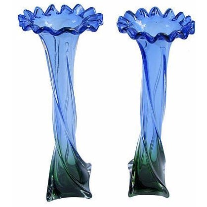 Italian Jewel-Tone Art Glass Vases - A Pair - Image 1 of 3