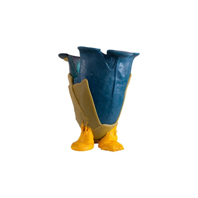 Colorful resin vase designed by architect & designer Gaetano Pesce. The vessel stands on three small legs. The body is...