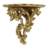 Image of 20th Century Italian Rococo Style Gilt Wood Wall Bracket For Sale