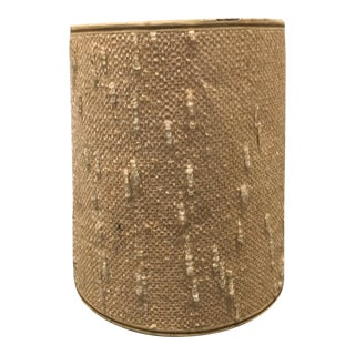 Vintage Beige Tall Round Drum Lamp Shade For Sale
