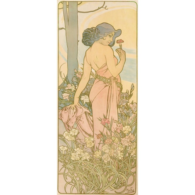 "Original Alfons Mucha lithograph, ""Carnation"" from The Flowers Series, 1898, first edition Vivid colors and detail of..."