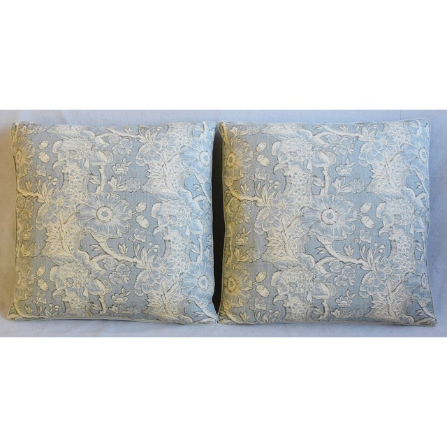 Pair of custom-tailored pillows in vintage hand-printed linen Camellia and Aged Acorn pattern fabric from McKenzie Hodsoll...