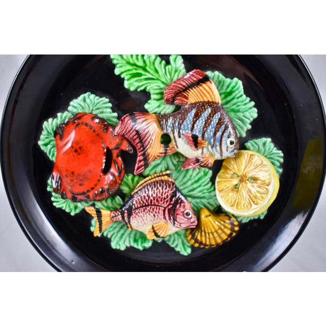 French Vallauris French Provençal Palissy Trompe L'oeil Seafood & Lemon Wall Plate For Sale - Image 3 of 11