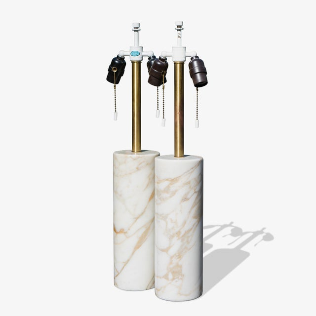 Table Lamps in Calacatta Marble & Brass by Nessen Lamps - a Pair For Sale In New York - Image 6 of 6
