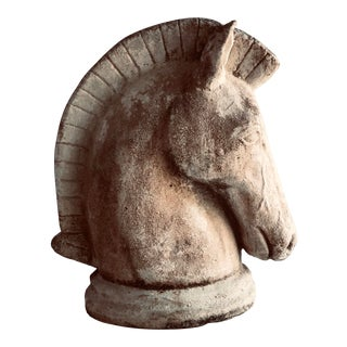 Vintage Cement Horse Head Statue For Sale