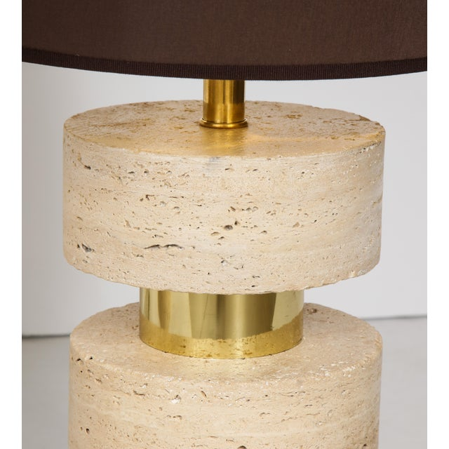 Metal Pair of Italian 1970s Travertine and Brass Table Lamps For Sale - Image 7 of 8