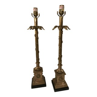 1980s French Style Speer Brass Lamps - a Pair For Sale