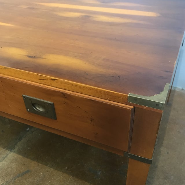 Ethan Allen English Campaign Coffee Table - Image 3 of 7