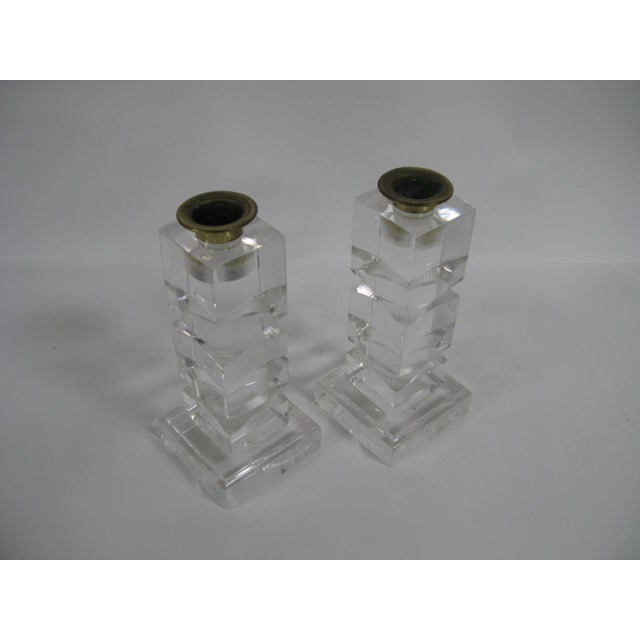 Vintage Lucite Candle Holders - a Pair For Sale - Image 4 of 8
