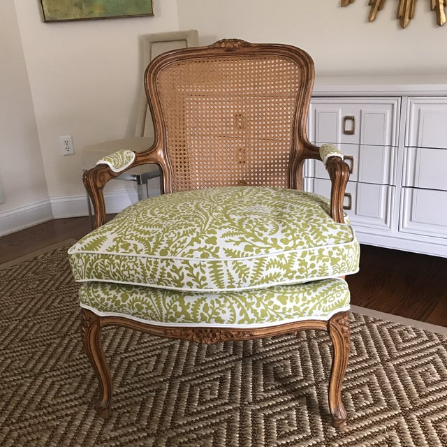 Vintage Cane French Louis Chair Raoul Textiles Fabric - Image 2 of 7