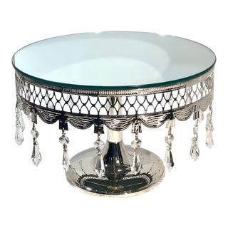 Cake Stand Silver Plated Mirrored With Crystals Centerpiece For Sale