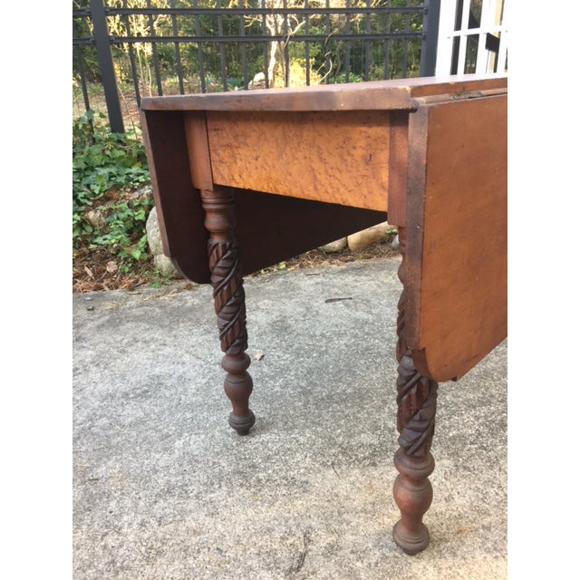 Country Antique Carved Leg Drop Leaf Dining Table For Sale - Image 3 of 5