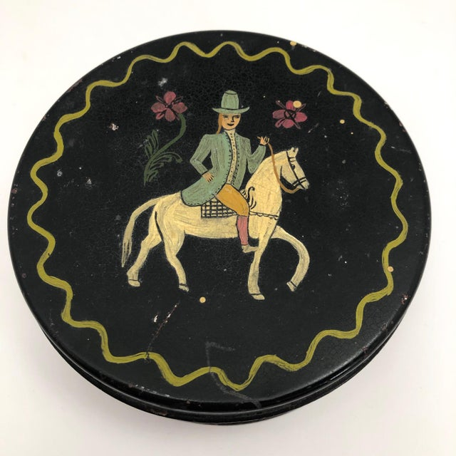 Early 20th Century Early 20th Century Antique Hand-Painted Woman on Horse Round Tin Box For Sale - Image 5 of 10