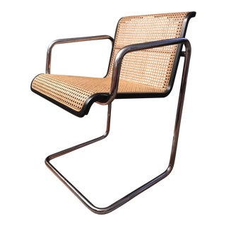 Vintage Chrome Cantilever Cane Arm Chair