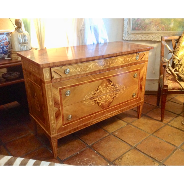 1960s Inlaid Italian Neoclassic Commode For Sale - Image 13 of 13