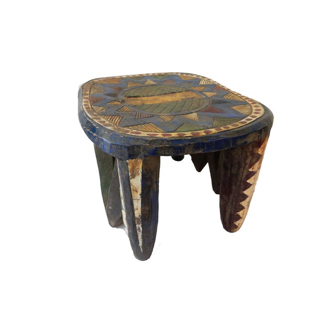 Brown African Old Nupe Low Stool For Sale - Image 8 of 10