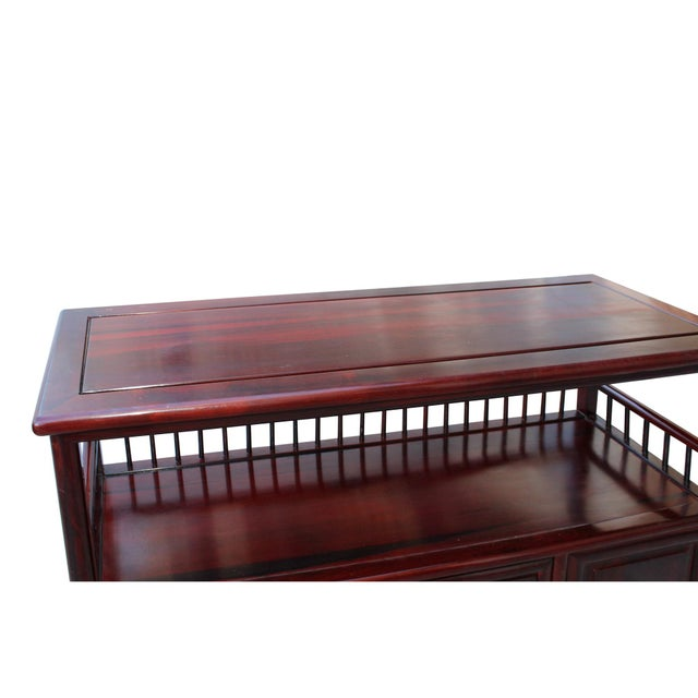 Chinese Brown Rosewood Credenza Console Side Table Cabinet For Sale - Image 4 of 8
