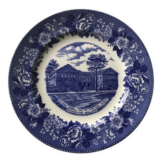 1980s Blue & White China Baseball Museum Commemorative Plate For Sale