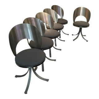 Contemporary Stainless Steel Dining Chairs - Set of 6 For Sale